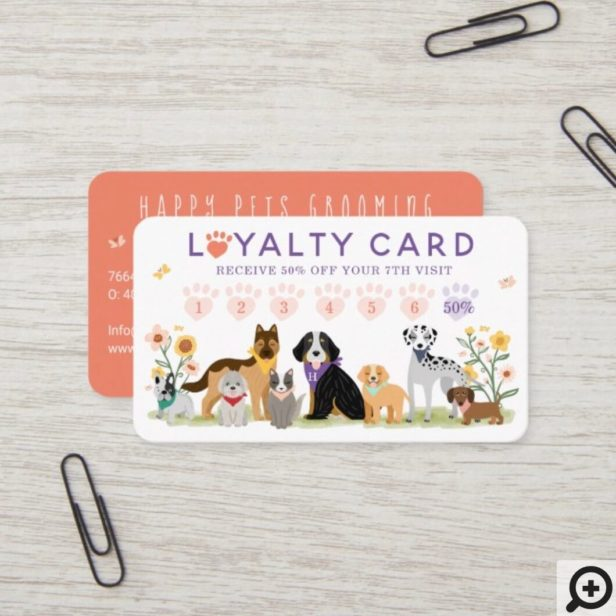 Cute Happy Pet Family Pet Care & Grooming Loyalty Business Card