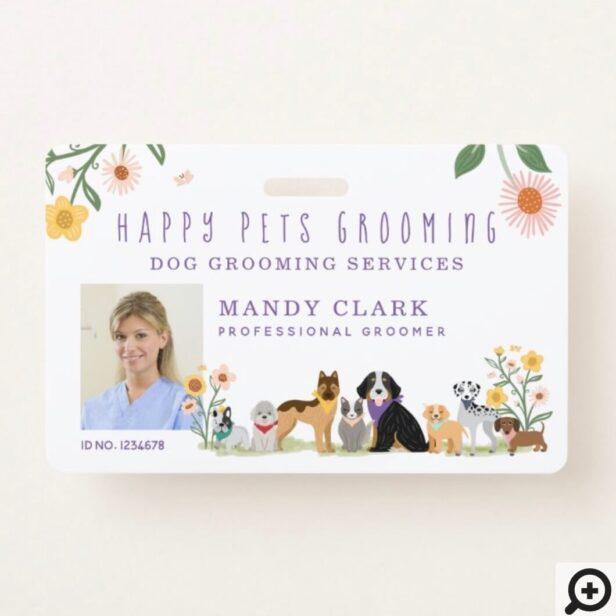 Cute Happy Pet Family Pet Care & Grooming Photo Badge