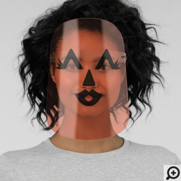 Cute Lady Halloween Orange Pumpkin Craved Face Face Shield