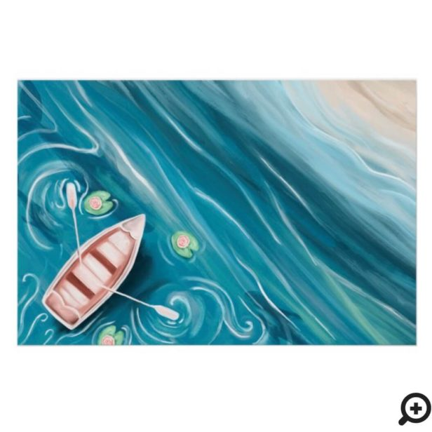 Dancing Canoe On The Lake With Whales & Lilly Pads Poster