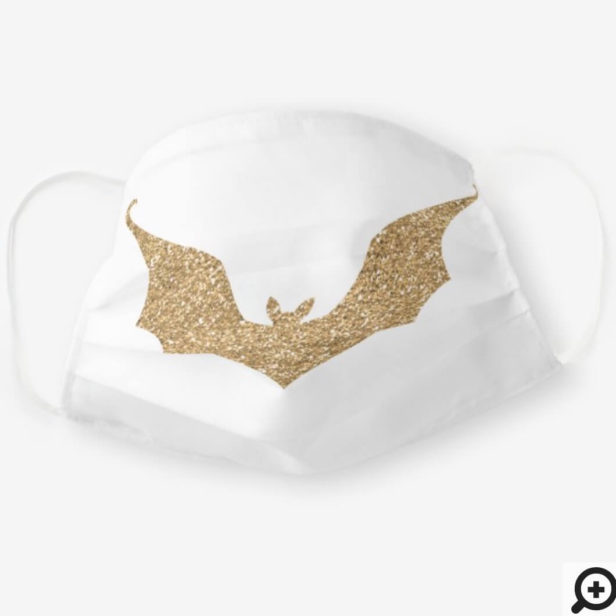 Faux Gold Glitter Bat White Cloth Face Mask