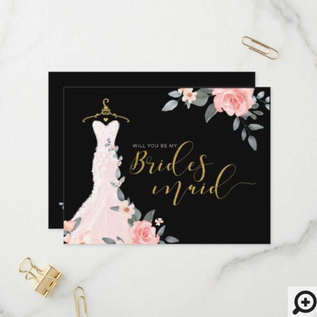 Floral Wedding Dress Will You Be Bridesmaid Invitation Postcard