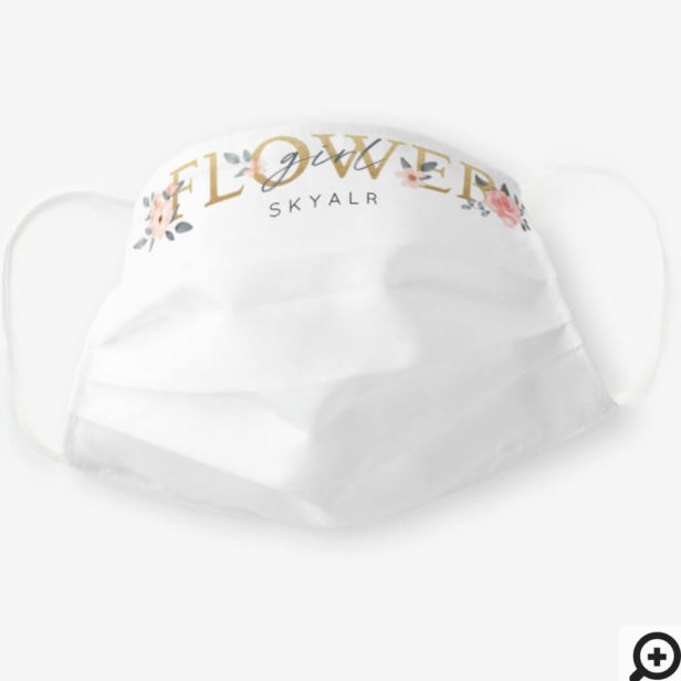 Flower Girl Watercolour Floral Blush Rose White Cloth Face Mask