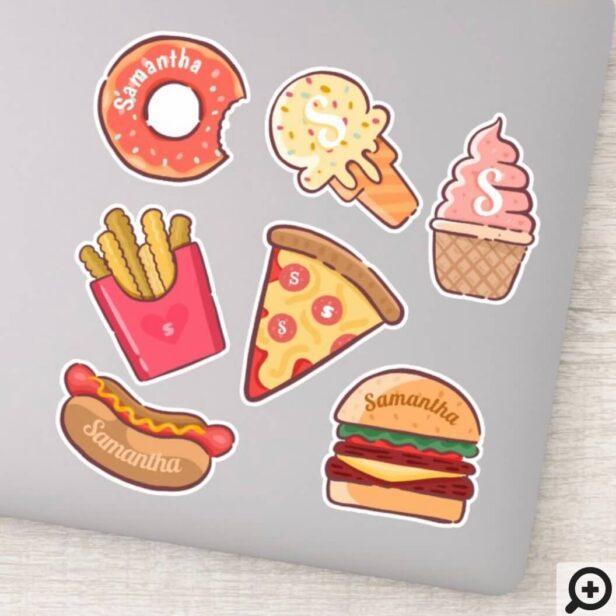 Fun Junk Food Cartoons Custom Name & Monogram Sticker