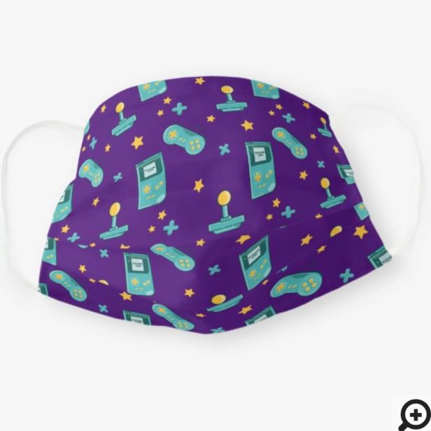 Game On Purple Retro Vintage Video Game Pattern Cloth Face Mask