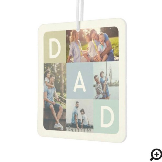 Gift For Dad | Modern Blue Photo Grid Collage Air Freshener