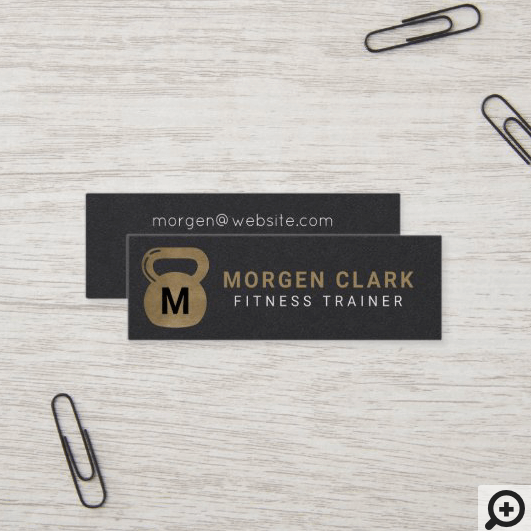 Gold & Black Kettlebell Personal Fitness Trainer Mini Business Card