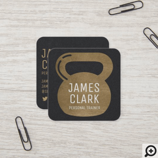 Gold & Black Kettlebell Personal Fitness Trainer Square Business Card