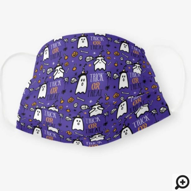 Happy Halloween Trick & Treat Ghost & Candy Purple Cloth Face Mask