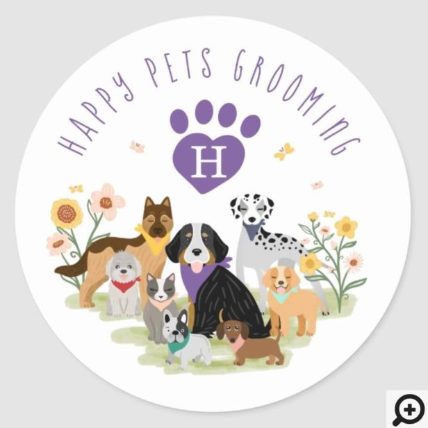 Happy Pet Family Pet Care & Grooming Monogram Classic Round Sticker