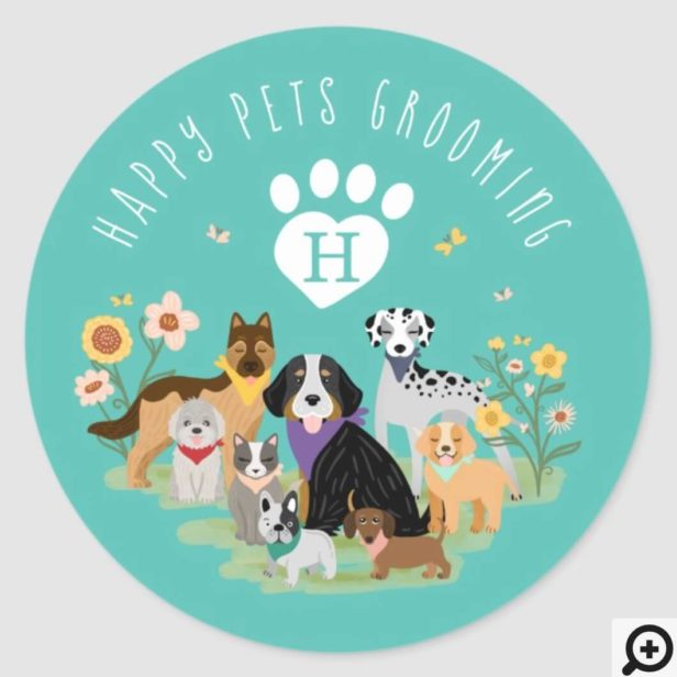 Happy Pet Family Pet Care & Grooming Monogram Teal Classic Round Sticker