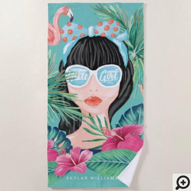 Hello Girl Beach Beauty Tropical Palm & Flamingo Beach Towel