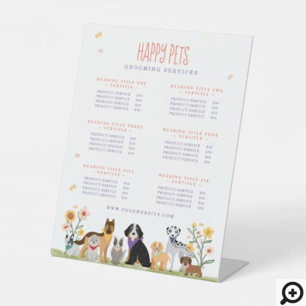 Lovable Happy Pet Care & Grooming Service Prices Two Column Pedestal Sign