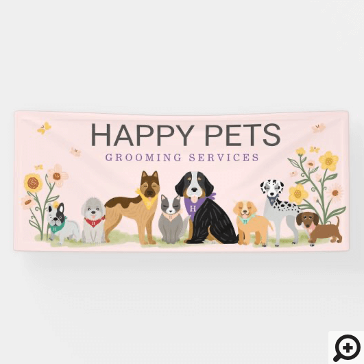 Loveable Happy Pet Family Pet Care, Grooming Pink Banner