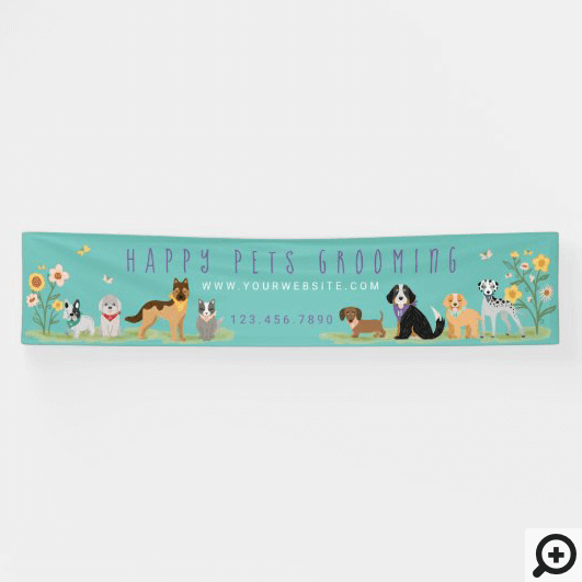 Loveable Happy Pet Family Pet Care, Grooming Teal Banner