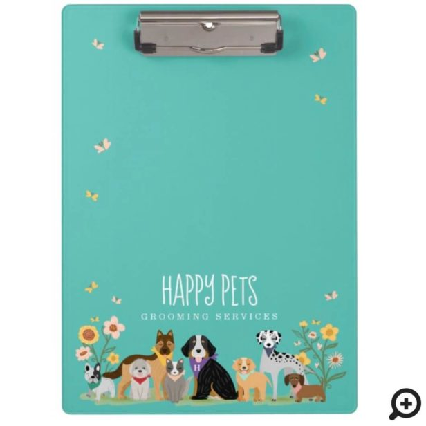 Loveable Happy Pet Family Pet Care & Grooming Teal Clipboard