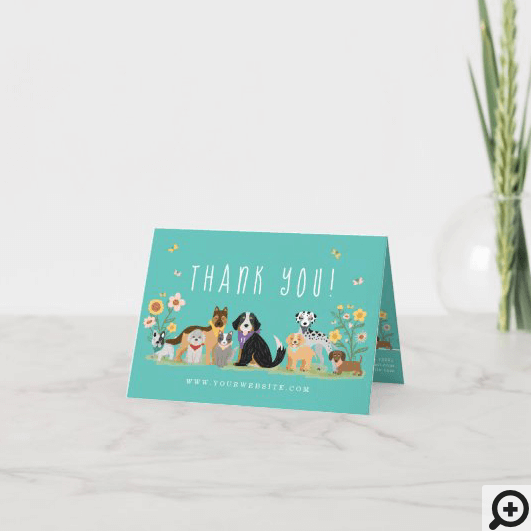 Loveable Happy Pet Family Pet Care, Grooming Teal Thank You Card