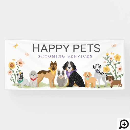 Loveable Happy Pet Family Pet Care, Grooming White Banner