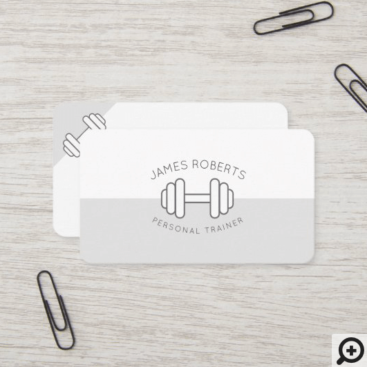 Minimal Dumbbell Personal Trainer Grey & White Business Card