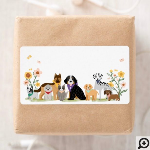 Monogram Loveable Happy Pet Family Dog Breeds Label