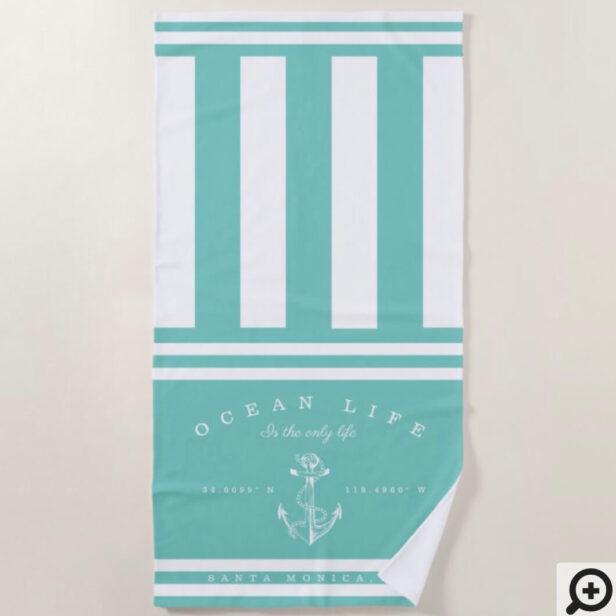 Ocean Life Nautical Aqua & White Stripe Anchor Beach Towel