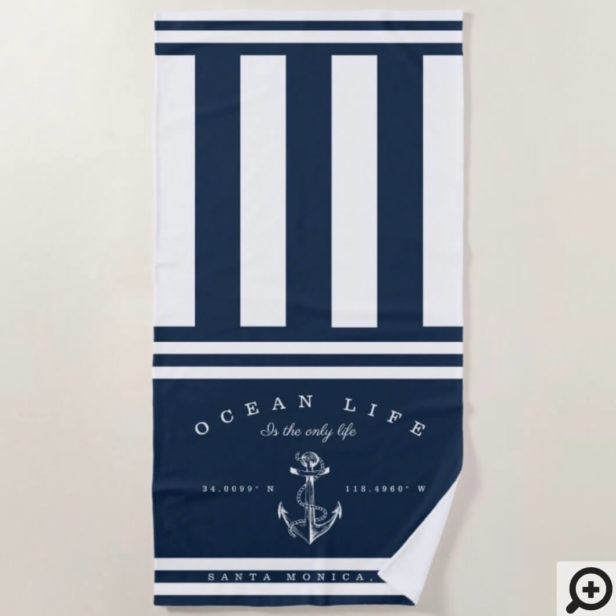 Ocean Life Nautical Navy & White Stripe Anchor Beach Towel