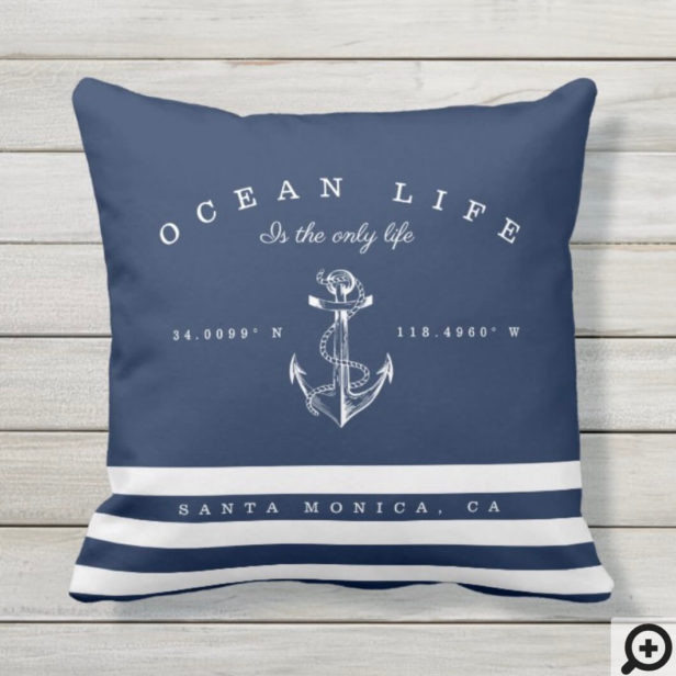 Ocean Life Nautical Navy & White Stripe Anchor Outdoor Pillow