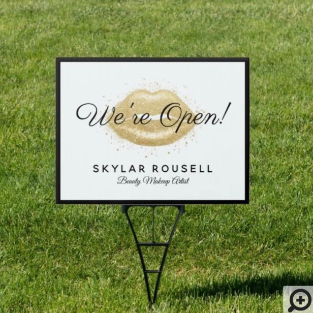 Open For Business Gold Black Beauty Lips Makeup Sign