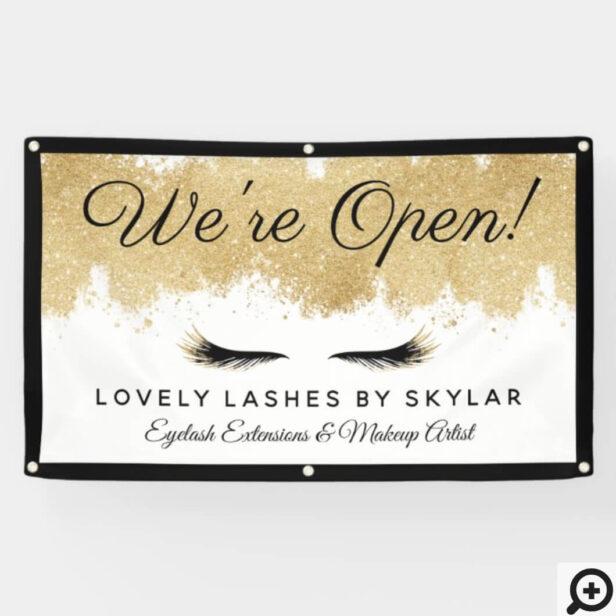 Open For Business Gold Black Eyelash Beauty Salon Banner