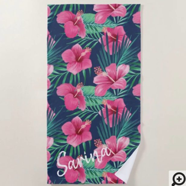 Pink Hibiscus Flowers & Tropical Palm Leaf Oasis Beach Towel