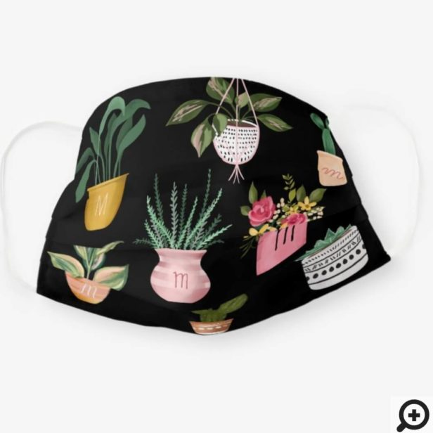Plant Lady   Watercolor Potted Plants, Black Cloth Face Mask
