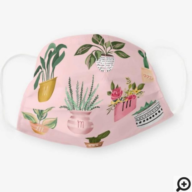 Plant Lady   Watercolor Potted Plants, Pink Cloth Face Mask