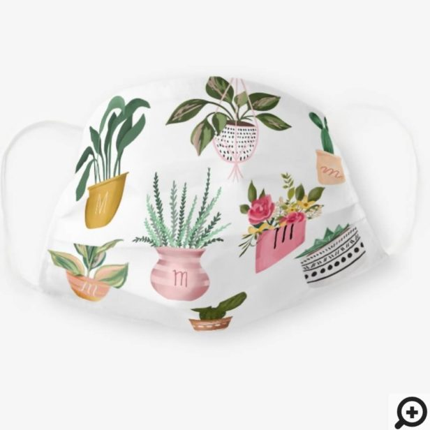 Plant Lady   Watercolor Potted Plants, White Cloth Face Mask