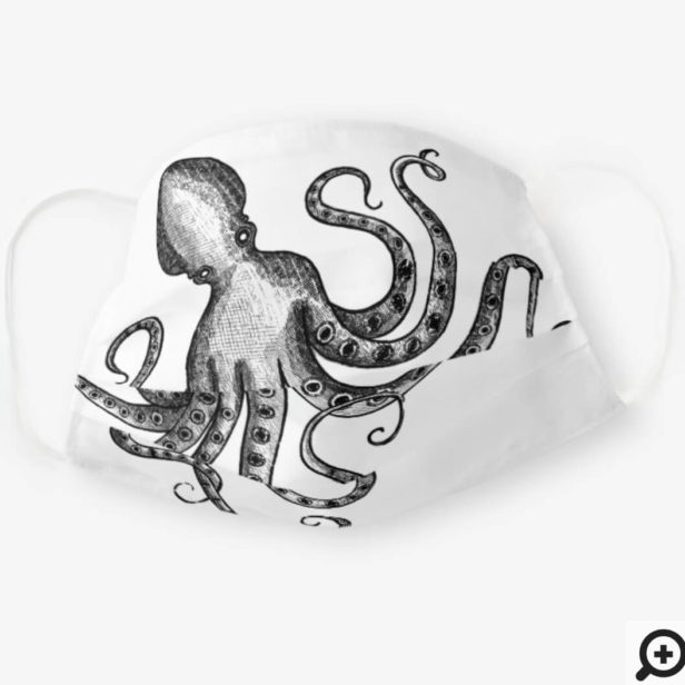 Rustic Vintage Engraved Style Octopus White Cloth Face Mask
