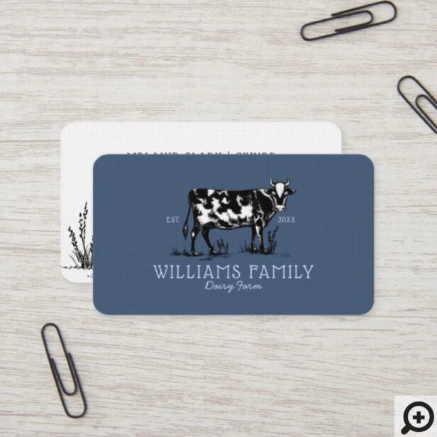 Rustic Vintage Sketch Farm Dairy Cow Dusty Blue Business Card