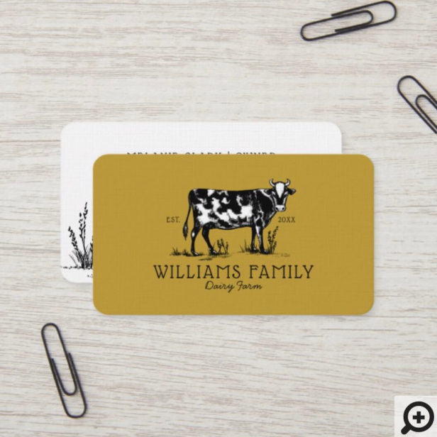 Rustic Vintage Sketch Farm Dairy Cow Golden Yellow Business Card