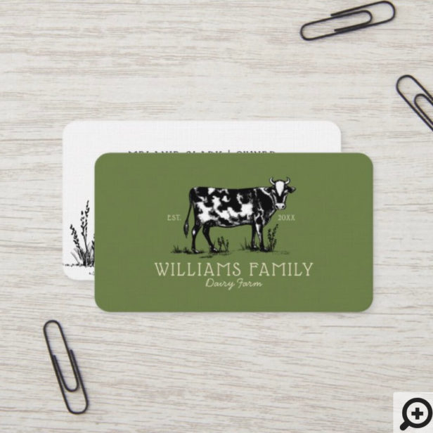 Rustic Vintage Sketch Farm Dairy Cow Olive Green Business Card