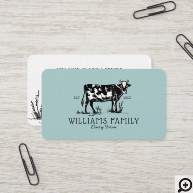 Rustic Vintage Sketch Farm Dairy Cow Pale Blue Business Card