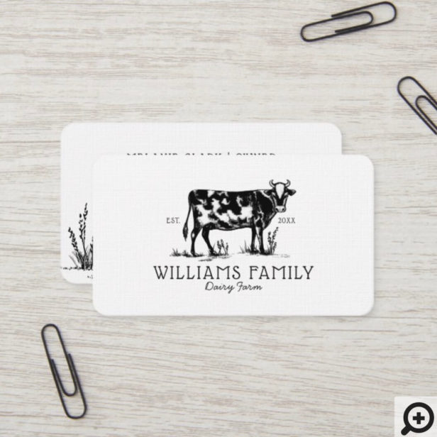 Rustic Vintage Sketch Farm Dairy Cow White Business Card