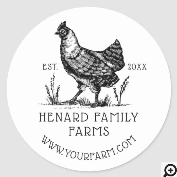 Rustic Vintage Sketch Farm Hen Dusty White Classic Round Sticker