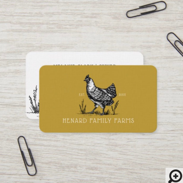 Rustic Vintage Sketch Farm Hen Mustard Gold Yellow Business Card