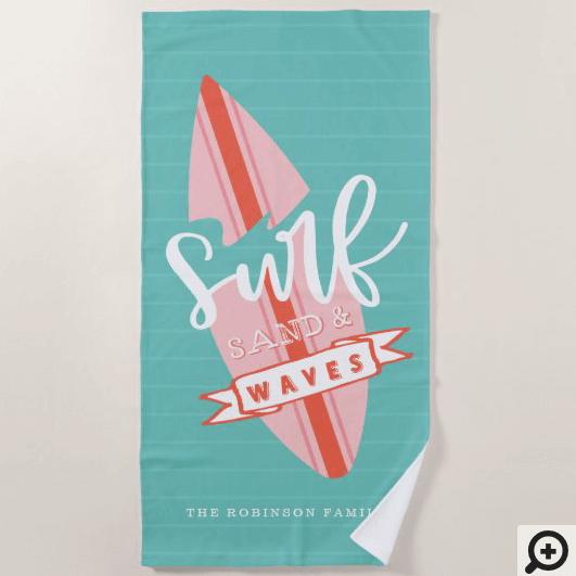 Surf Sand & Waves Retro Pink & Teal Surfboard Beach Towel