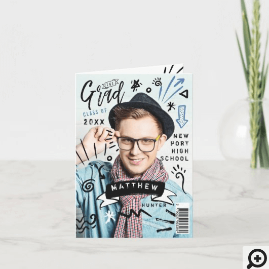 Trendy Doodle Sketch Magazine Cover Boy Grad Invitation