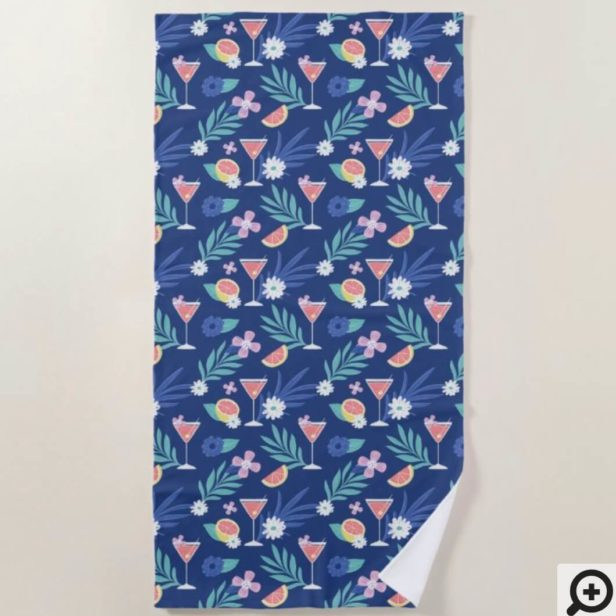 Tropical Citrus Fruit Cocktail Hour Pattern Blue Beach Towel