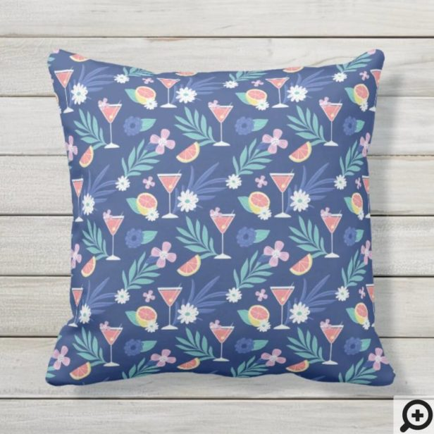 Tropical Citrus Fruit Cocktail Hour Pattern Blue Outdoor Pillow