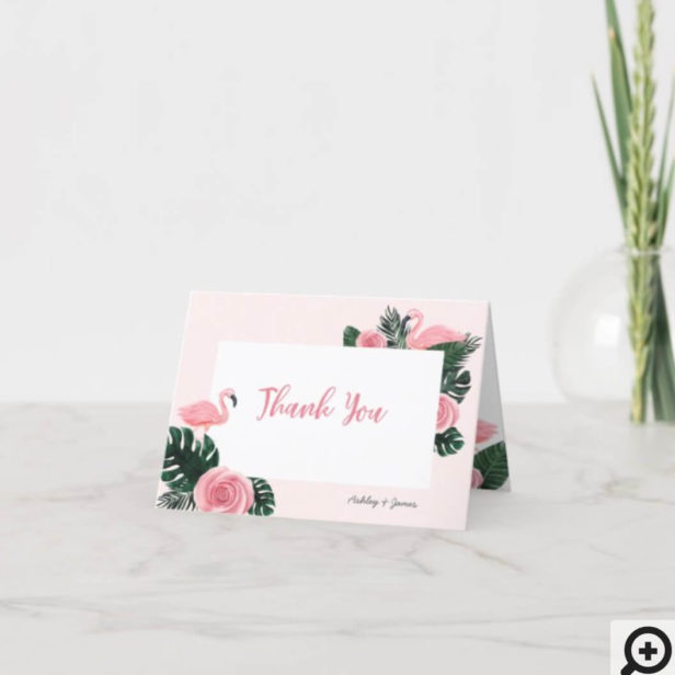Tropical Pink Flamingo Rose Baby Shower Thank You Card