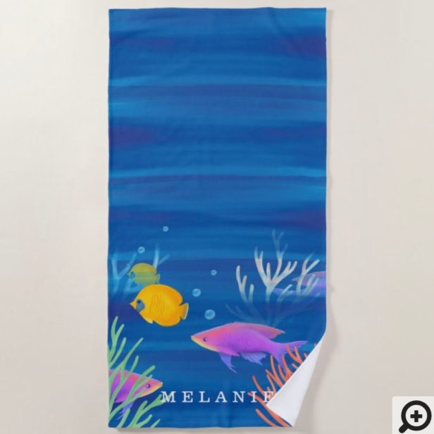 Under The Ocean Colorful Watercolor Fish & Coral Beach Towel
