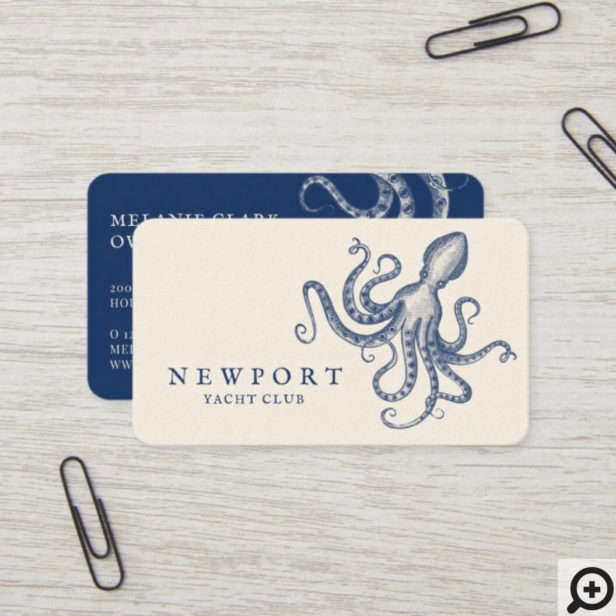 Vintage Engraved Style Octopus Ocean Nautical Business Card