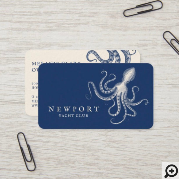 Vintage Engraved Style Octopus Ocean Nautical Navy Business Card