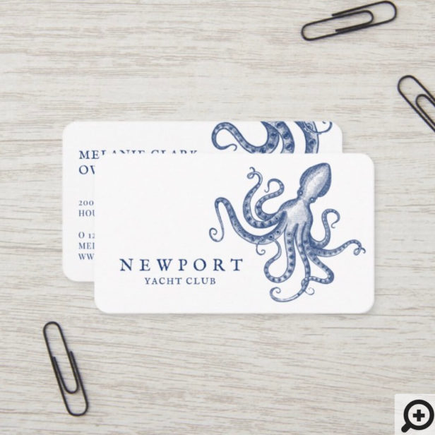 Vintage Engraved Style Octopus Ocean Theme White Business Card